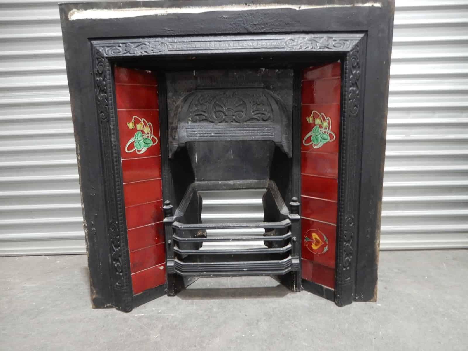 Fireplace Cast Iron Red Tiles Feature Hood 8g