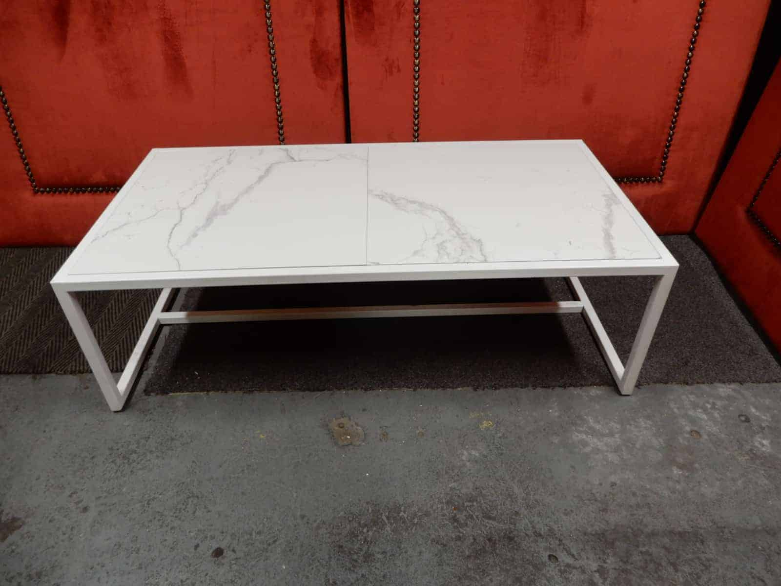 - Coffee Table – White Metal Frame With Tiled Top 1250 Long X 650