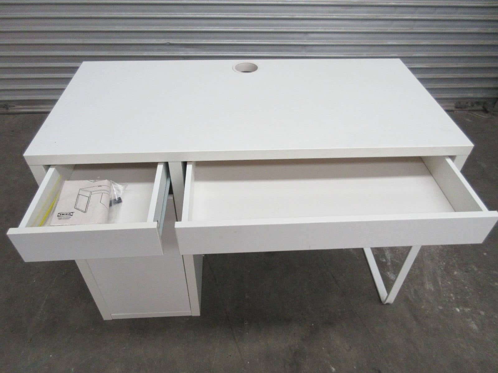 Ikea children s computer desk white 2 draws and cupboard Desk with shelves on side